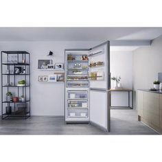 Hotpoint NFFUD191X 450 Litre Freestanding Fridge Freezer 60/40 Split Frost Free 70cm Wide - Stainless Steel Freestanding Fridge, Fridge Shelves, Freezer Burn, Bottle Rack, Door Hinges, Frost, Stainless Steel, This Or That Questions, Furniture