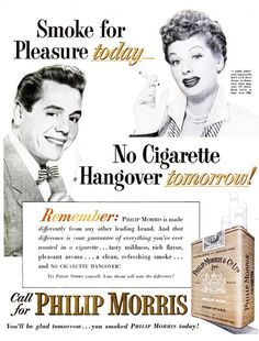 Lucille Ball and Desi Arnes for Philip Morris:   *** WHAT THE HELL IS A CIGARETTE HANGOVER? ***