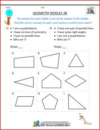 Geometry Riddles 3B, math geometry riddles 3rd grade