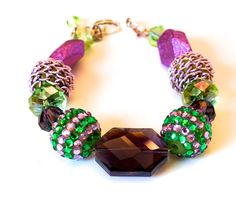 Chunky Statement Beaded Bracelet Purple PInk  by SpecialtyBoutique, $21.00