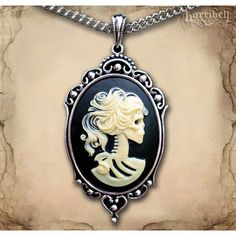 Ivory Skeleton Cameo Necklace Gothic Necklace Day of the Dead Necklace... ($18) ❤ liked on Polyvore featuring jewelry, necklaces, cameo necklace, ivory jewelry, skull jewelry, victorian jewelry and cameo jewelry