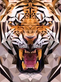 Geometric Tiger Made From Triangles - This is how 3-D animations are made in computer, though the triangles are much smaller, and there are lots lots more of them.