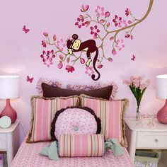 USA Monkey Pink Flower Blossom Wall Sticker PVC Mural Decals Kids Nursery Decor #Unbranded #kidsroomdecor