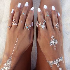 Boho jewelry :: Rings, bracelet, necklace, earrings + flash tattoos :: Bohemian Style :: Silver + Turquoise :: Bronze + Gold Jewellery :: For Gypsy wanderers + Free Spirits :: See more untamed bohemian jewel inspiration @untamedorganica :: GypsyLovinLight