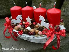 Adventní svícen Winter Christmas, Christmas Crafts, Merry Christmas, Christmas Decorations, Christmas Ornaments, Holiday Decor, Hobbies And Crafts, Diy And Crafts, Advent Candles