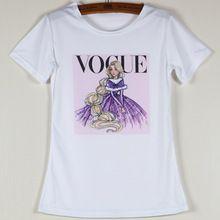 Summer Vogue mujer camisetas manga corta cuello de O Girls mujeres camiseta para mujer de la impresión blanco Vintage Tops Cartoon Tees poliéster(China (Mainland))