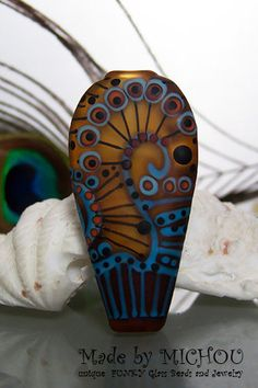 Caramello Gold  Art Glass focal bead  by Michou P. by michoudesign, $89.00