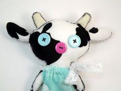 Cow cowgirl cow doll rag doll plushie stuffed by TrailOfStitches