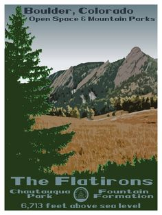 Commemorate your love of Boulder, Colorado's most iconic sight with our custom Flatirons poster! Inspired by the vintage art deco National Park posters of the and this poster is sure to impress! Printed on museum-quality, thick and durable matte paper. Boulder Flatirons, North Carolina, Fountain Park, Mount Shasta, Art Deco, National Park Posters, Space Mountain, Museum, Boulder Colorado