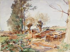 John Singer Sargent (1856 — 1925, USA) Old Bivouacs. 1918 watercolour on paper. 39.3 x 52.7 cm.