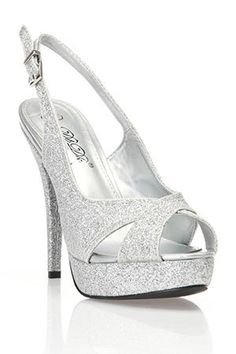 Silver High Heeled Open Toed Sandals With Diamant Straps ($76 ...