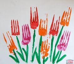 Spring art: tulips painted with a fork - Idea cabin - Art Journal Art Floral, Diy For Kids, Crafts For Kids, Tulip Painting, Wall Drawing, Gabel, Pin Art, Toddler Crafts, Spring Crafts