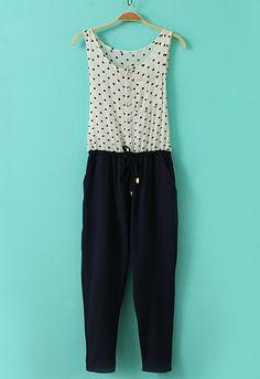 White Navy Sleeveless Polka Dot Drawstring Waist Jumpsuits