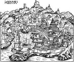 Historical Ancient Map of Genoa