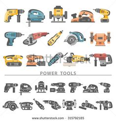 Flat Icons - Power Tools - stock vector