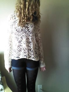Boho flower top from Urban Planet, high waisted shorts from Walmart, and polka dot leggings from Target. Spring outfit ;))