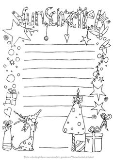 Colorea tu lista de deseos tú mismo - ¡La lista de deseos para pintarse hace aún más anticipación para Navidad e inspira a Christkind - Kindergarten Portfolio, Sketch Notes, Noel Christmas, German Christmas, Little Things, Wish, Lettering, Children, Blog