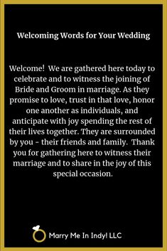 Welcoming Words for your wedding ceremony script. Welcoming Words for your wedding ceremony script. ceremony outline Welcoming Words for your wedding ceremony script. Non Religious Wedding Ceremony, Wedding Prayer, Wedding Ceremony Readings, Vow Renewal Ceremony, Wedding Ceremonies, Wedding Speeches, Wedding Ceremony Script Christian, Wedding Ceremony Outline, Best Wedding Vows