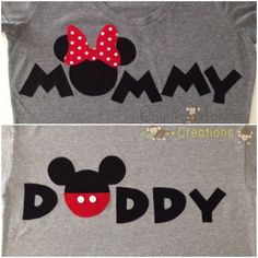 PERSONALIZED: Mommy Minnie Mouse & Daddy Mickey Mouse T-shirt Set #Travel