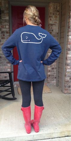 Vineyard vines navy blue with bright pink boots tots swanky prepsters
