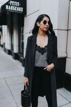 plaid lace cami