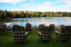 Empty chairs next to Craftsbury lake, Vermont