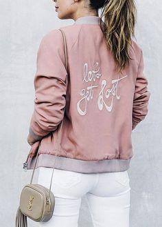 Lovers + Friends Let's Get Lost Back Slogan Bomber Jacket
