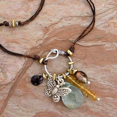 Butterfly in Charms Linen Necklace