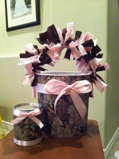 Instead of making it girly with the pink add green blue or orange. Cute idea for storage at shower and/or baby's room Baby Shower Camo, Deer Baby Showers, Baby Shower Themes, Baby Boy Shower, Baby Shower Decorations, Camo Decorations, Shower Ideas, Pink Camo Birthday, Pink Camo Party