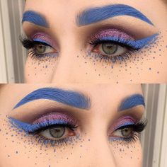 'Teacup' Velvetine for brows, liner, and dots by @helenesjostedt! Other details: - Makeup Store Lilac Eye Dust - Inglot Body Sparkles 66 - MAC Copperplate Eyeshadow - Sweed Lashes Falsies #limecrime #velvetines