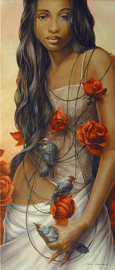 Artist: Chelìn Sanjuan {figurative female birds flowers roses african-american black woman art painting}