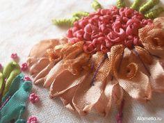 Вышивка лентами. Материалы, стежки для вышивки для начинающих и фото | Alamella.ru