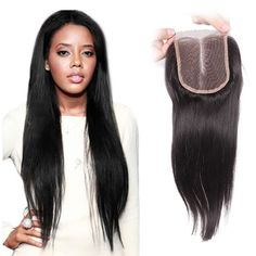 Virgin Indian Lace Closures Straight Remy Hair4*4 Middle Part With Baby Hair  $33.00