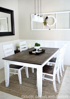 DIY Dining Table and Chairs Makeover • Ideas & Tutorials, including this farmhouse table makeover by 'Design, Dining and Diapers'!