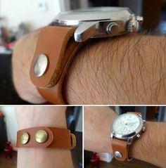 homemade leather watch strap. more pictures: http://boarrits.tumblr.com/post/59334422375/made-a-leather-strap-for-my-watch-because-the-old