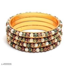 Bangles & Bracelets Allure Fusion Bangles Base Metal: Brass Plating: Gold Plated Stone Type: Artificial Stones Sizing: Non-Adjustable Type: Bangle Set Multipack: 4 Sizes: Country of Origin: India Sizes Available: 2.4, 2.6, 2.8, 2.10   Catalog Rating: ★4 (486)  Catalog Name: Allure Fusion Bangles CatalogID_659489 C77-SC1094 Code: 162-4555535-435