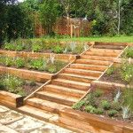 Terraced garden constructed from wooden terraces and steps