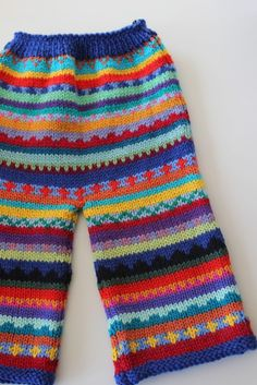 Red Colourful Pants - Size 6 months - Hand knitted - by KrazyKnits on madeit Knitting For Kids, Crochet For Kids, Loom Knitting, Hand Knitting, Crochet Baby Pants, Knit Pants, Knit Crochet, Fair Isle Knitting Patterns, Rompers For Kids