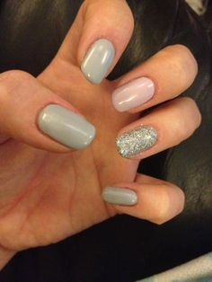 Shellac nails - grey (studio white and Blackpool) pale pink (studio white and gotcha with a dab if Blackpool) and silver glitter