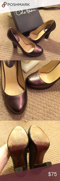"""Bronze Cole Haan heels Wonderful condition leather heels from Cole Haan, size 9.5. These feature a round toe, and a 4.5"""" snakeskin wrapped heel. They show wear only on the soles. Please note, these are deep brown-bronze, but for some reason photograph a bit purple. These come from a smoke-free home. Please ask any questions! Cole Haan Shoes Heels"""