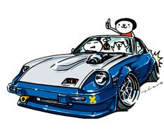 """crazy car art"" jdm japanese old school ""S130Z"" original characters ""mame mame rock"" / © ozizo Official web shop ""STAY CRAZY (in Society6)"" Official web shop ""ozizo(in Redbubble)"" ""Crazy Car Art"" Line stickers ""Crazy car Art"" Telegram stickers"