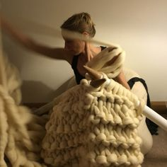 Giant knitting blankets and throws lovingly handmade with cloud soft luxurious merino unspun chunky wool roving Knitted Blankets, Merino Wool Blanket, Giant Knitting, Extreme Knitting, Big Knits, Chunky Wool, Snuggles, Beautiful Hands, Special Gifts