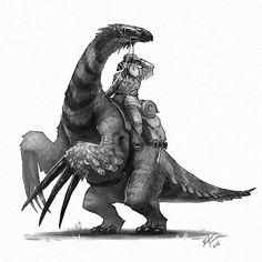 The mountain men of the old west preferred Therizinosaurus for their ability to clear brush as they traveled. #oldwest #therizinosaurus #dinosaurs #dinosaur #art #conceptart #illustration #instagood #instaart #creaturedesign #characterdesign #draw #drawing #mountainman #digitalart