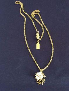 Vtg 1928 Pink Enamel Rose Flower Gold Tone Locket Chain Necklace