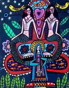 Tree of Life Mermaid Art mexican folk art by HeatherGallerArt, $16.00