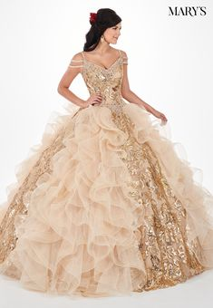 392b56612 Sequin Print Cold Shoulder Quinceanera Dress by Mary s Bridal – ABC Fashion