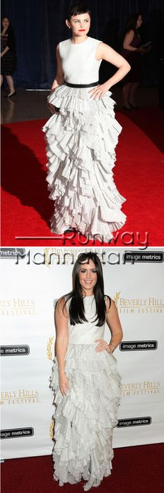 Fashion Face-Off: Ginnifer Goodwin Vs. Beau Dunn.  Ginnifer Goodwin was not the only celebrity donning the HM ruffle design last weekend. Model Beau Dunn wore the very same dress at the 12th Annual Beverly Hills Film Festival Opening Night held at the AMPAS Samuel Goldwyn Theater.  So this is East Coast vs. West Coast, actress vs. model, short hair vs. long hair, red lips vs. nude lips. Belt vs. no belt. Clutch vs. no bag. So many details. Who wore it better?