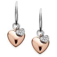 Double Heart Two-Tone Steel Earrings