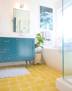 Room Reveal // New Master Bathroom. Get fresh and colorful ideas for your master bathroom, including bright yellow tile on the floor! Diy Bathroom Vanity, Modern Bathroom, Small Bathroom, Master Bathroom, Bathroom Ideas, Budget Bathroom, Bathroom Cabinets, Shower Bathroom, Glass Shower