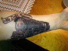 Steam locomotive on forearm tattooed   #Tattoo, #Tattooed, #Tattoos